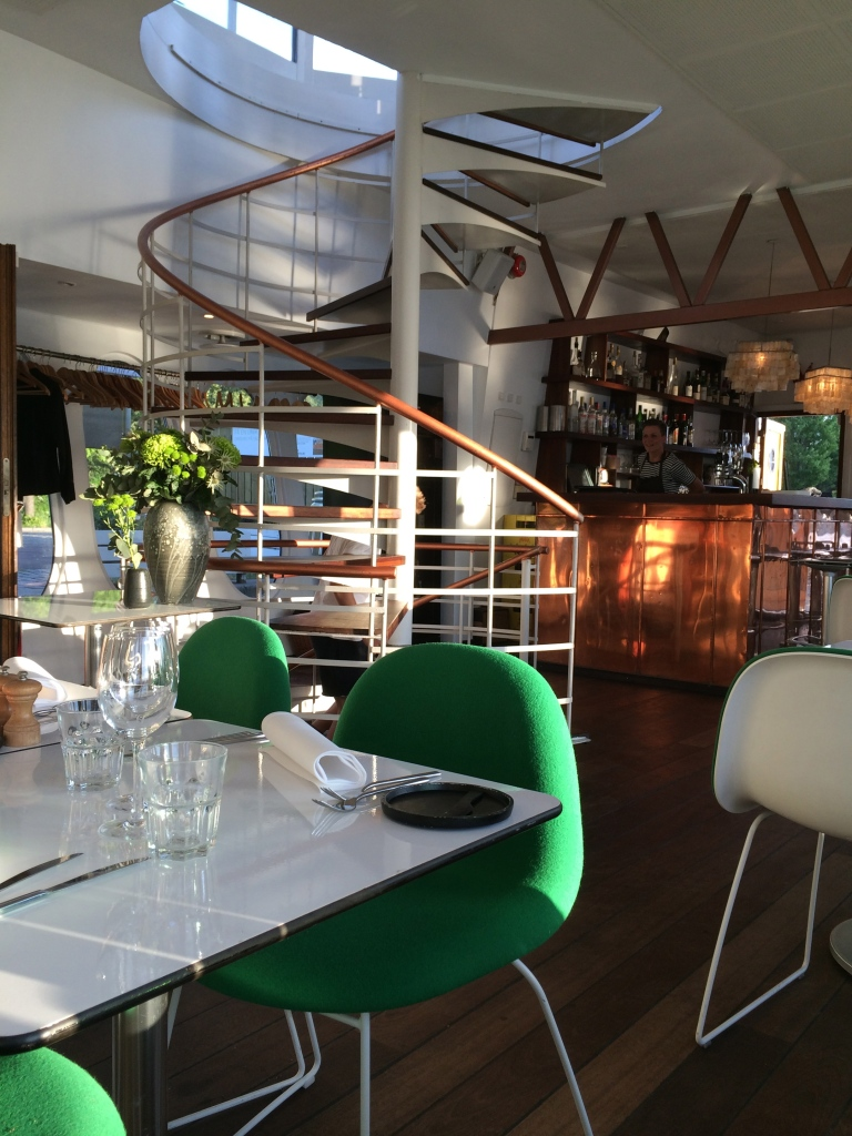 Inside the boat-restaurant.